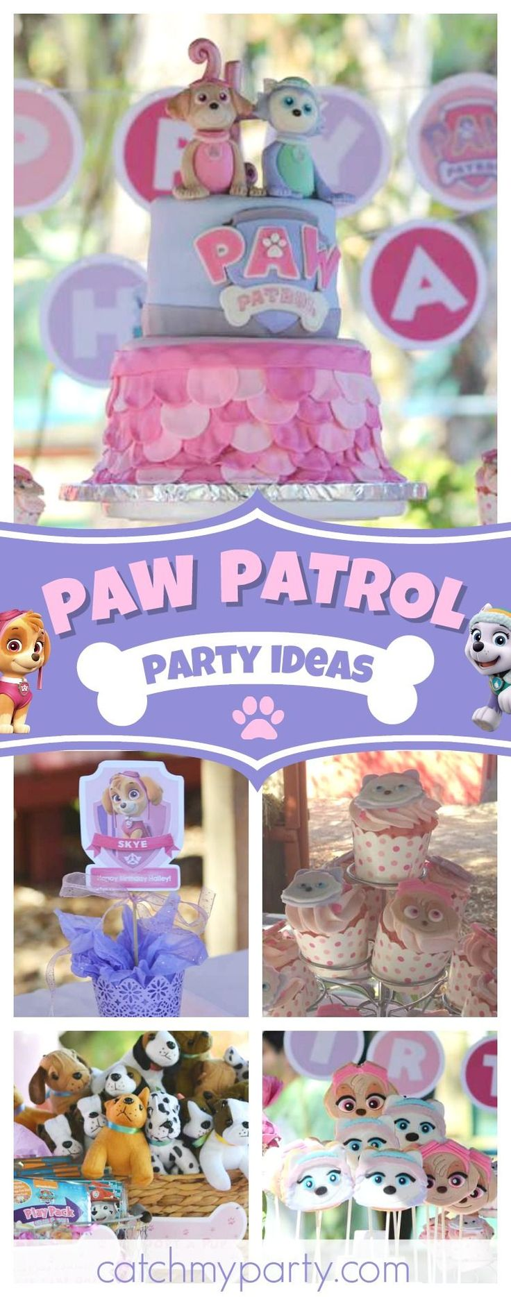Check out this fun pink Paw Patrol birthday party! The cookies are amazing!! See more party ideas and share yours at CatchMyParty.com #catchmyparty #partyideas #pawpatrolbirthdayparty #skye