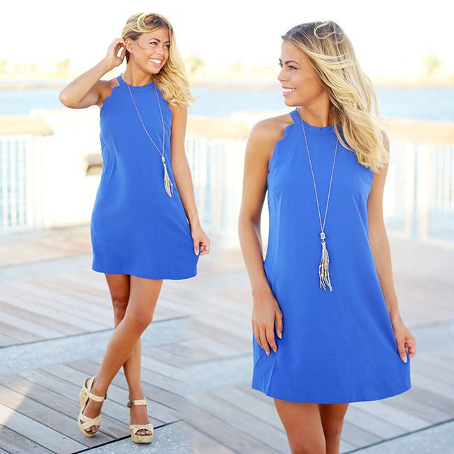 YAY! Our pretty scalloped dress is back in Royal Blue Shop at savedbythedress.com