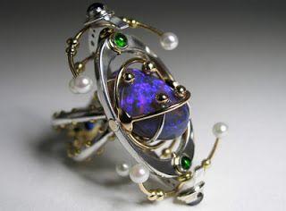 Claudio Pino, Canada: kinetic ring; sterling, 14k gold, black opal, emerald…