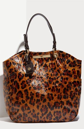 Crinkled patent leather and a leopard-print bag
