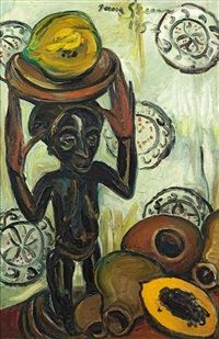 Buli Stool with Fruit by Irma Stern