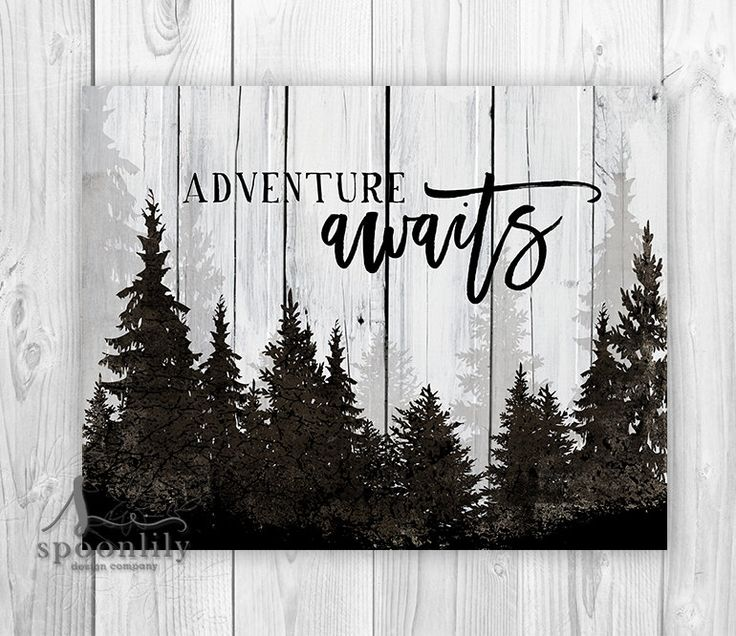 ADVENTURE AWAITS Typography Art Print, Adventure Awaits Sign, Adventure Awaits Quote w Forest Landscape, Adventure Awaits Home Decor by SpoonLily on Etsy