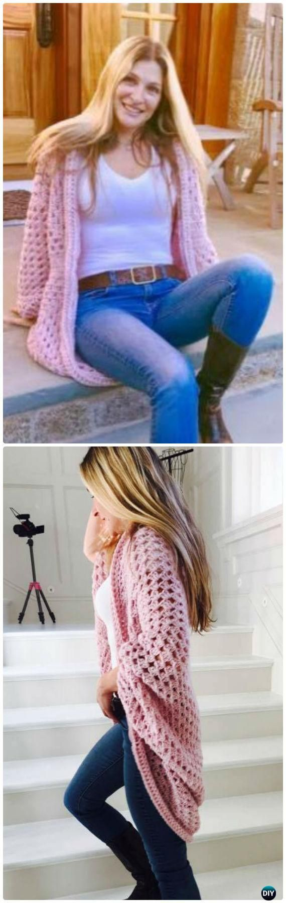 Easy Crochet Cocoon Cardigan Tutorial Free Pattern - Crochet Women Sweater Coat-Cardigan Free Patterns