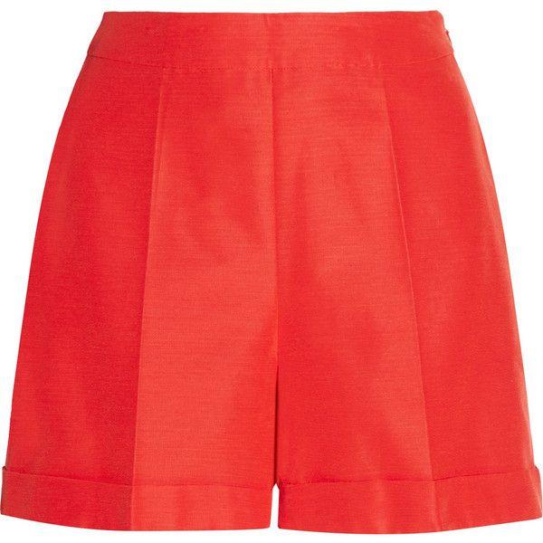 Oscar de la Renta Pleated ottoman shorts ($475) ❤ liked on Polyvore featuring shorts, papaya, high waisted cuffed shorts, loose shorts, high-rise shorts, loose fit shorts and pleated shorts
