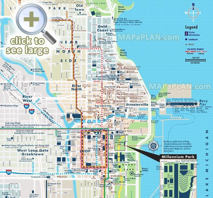 street road names plan central most popular points of interest elevated metra transport stops Millennium Park Old Town Chicago top tourist attractions map