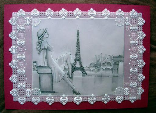my work.  la parisienne.  pergamano, crayon graphite. Shanon Jeurissen