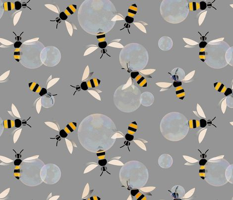 Bubble Bees fabric by ruusulampi on Spoonflower - custom fabric