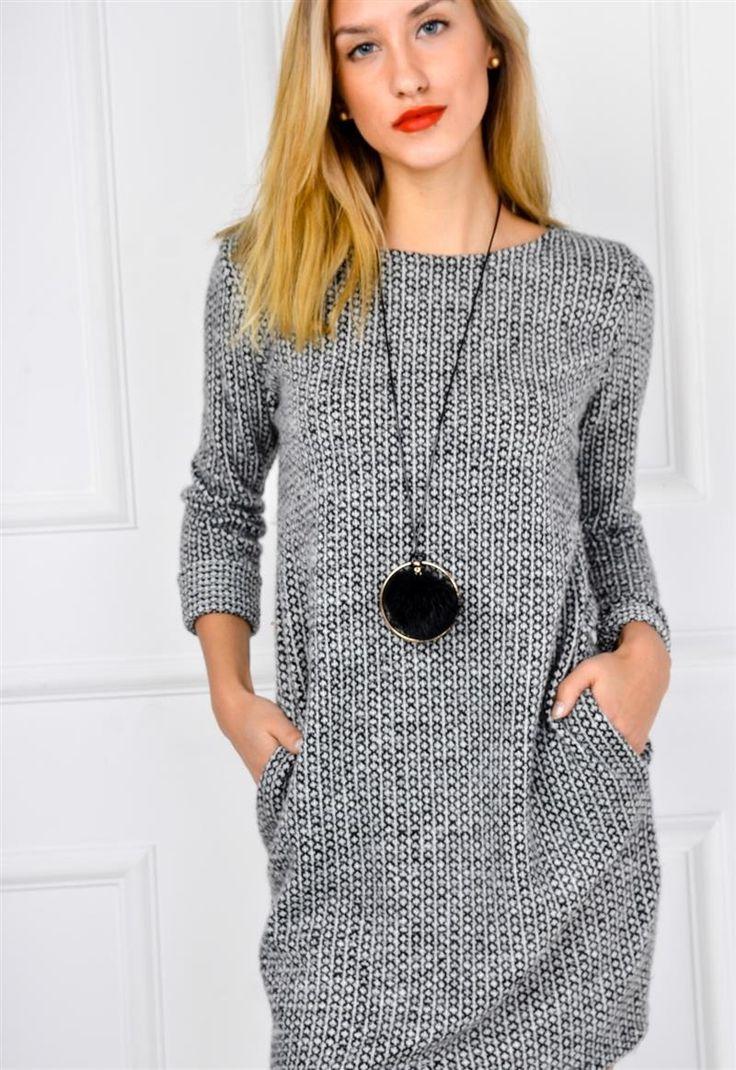 Miękka melanżowa sukienka tunika z wisiorkiem, Ona Odzież Sukienki | Sukienki.shop