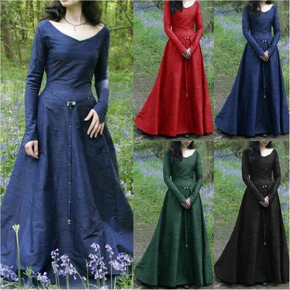 Medieval European Women Long Sleeve Vintage Long Dress Halloween Cosplay Costume