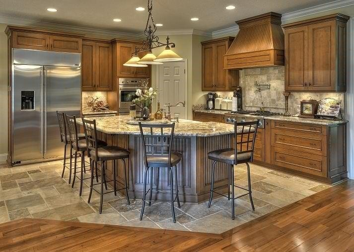 Tile woods and islands on pinterest for Flooring transition from kitchen to family room