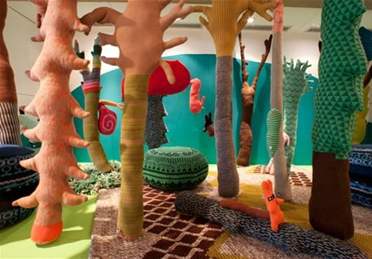 Scottish designer Donna Wilson brings her playful textiles to Yorkshire Sculpture Park this winter, drawing inspiration from the landscape to create an eccentric world of knitted trees and curiosities featuring her trademark patterns and colours alongside exclusive limited edition prints.