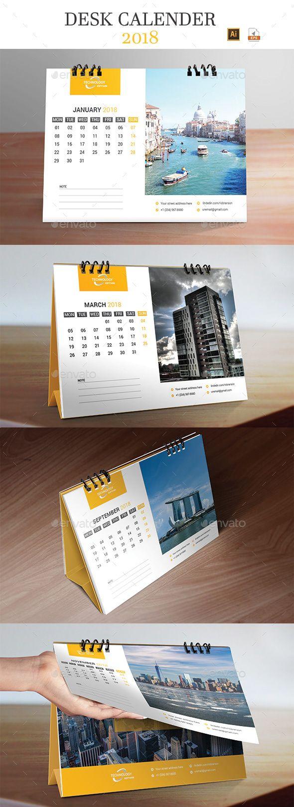 Desk Calendar 2018 - #Calendars #Stationery Download here: https://graphicriver.net/item/desk-calendar-2018/20065261?ref=alena994