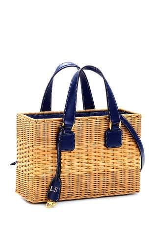 Monogrammable Large Manray Tote in Midnight Blue Saffiano Leather by Mark Cross for Preorder on Moda Operandi