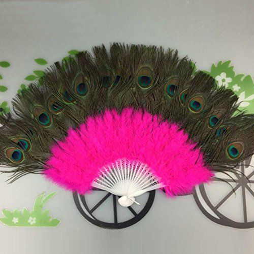 Ecosin Peacock Fan Wedding Showgirl Dance Elegant Large Feather Folding Hand Fan Decor Decal Hot Pink -- Check out this great product. (This is an affiliate link and I receive a commission for the sales)