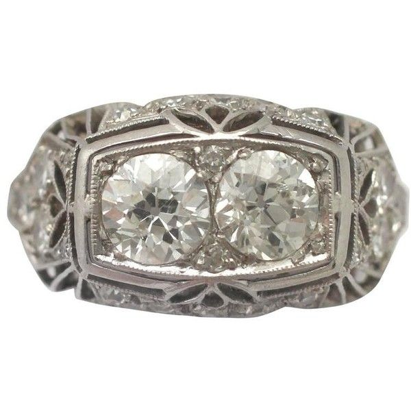 Preowned 1940s Art Deco 1.73 Carat Diamond And Platinum Cocktail Ring ($5,155) ❤ liked on Polyvore featuring jewelry, rings, engagement rings, multiple, pre owned engagement rings, vintage diamond rings, vintage engagement rings and round cut engagement rings