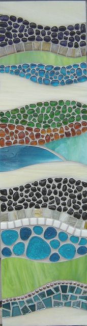 Stained Glass, Glass Tile, Beads, Glass Pebbles on MDF by Opus Mosaics  (Josh Hilzendeger) on Flickr.