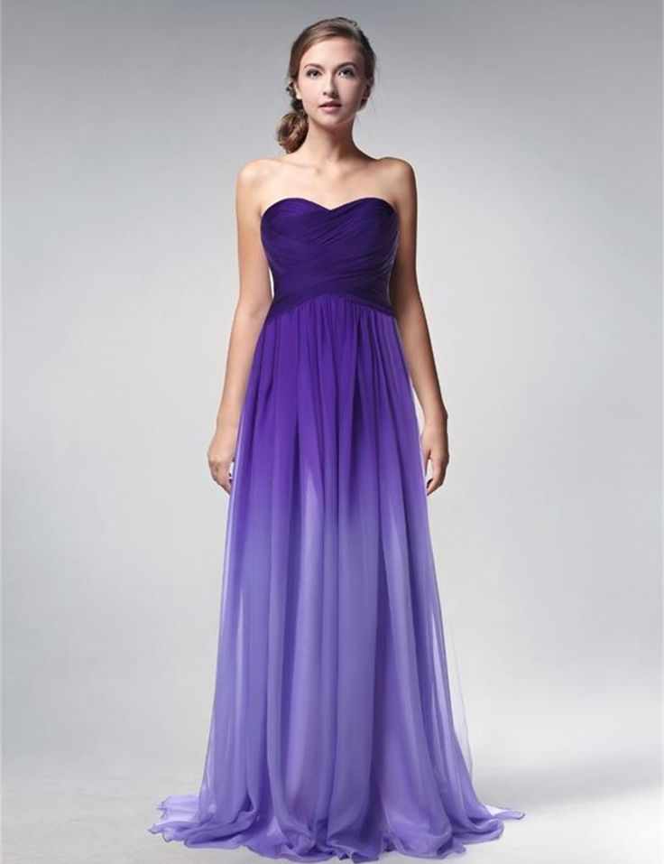 Purple gradient chiffon long evening dress 2015 cheap for Dressing for wedding guests