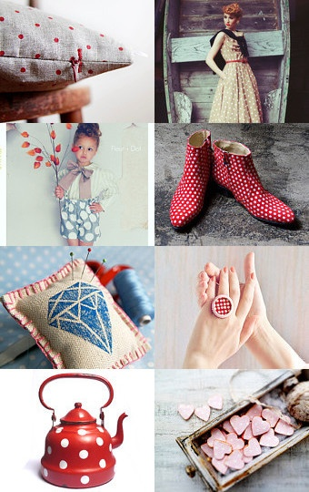 ♥Come inspiration with polka dots♥ Treasury List curated by Eva Escoms --Pinned with TreasuryPin.com