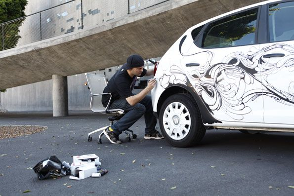 POSCA markers on car