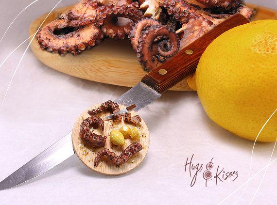 Miniature Octopus Platter Greek Traditional Food Dollhouse