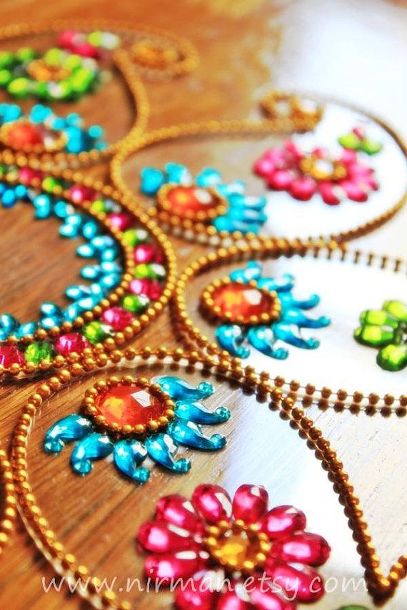 Rangoli floor art   Keri Small  Blue Pink Green  set of by Nirman, $22.00