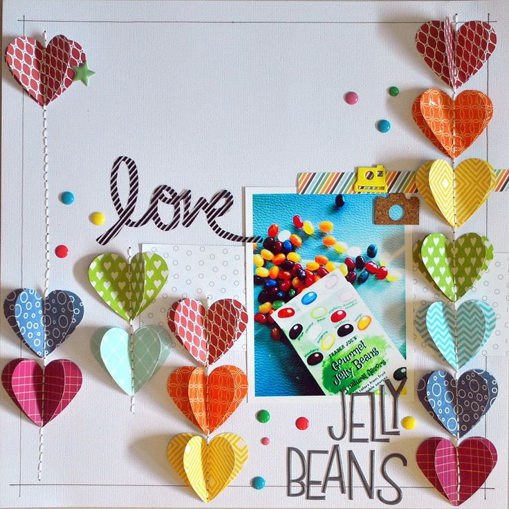 Love Jelly Beans by carmen crosseti henriquez at @Studio_Calico I love the way Carmen made the rainbow 3-d hearts and paired them perfectly with the Printshop sentiment!