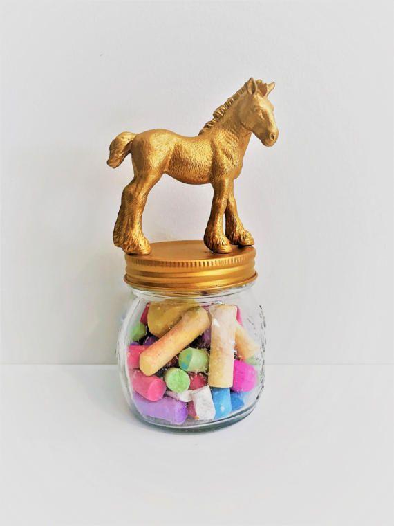 Gold Horse Mason Jar // Animal Storage Jar // Decorative Home