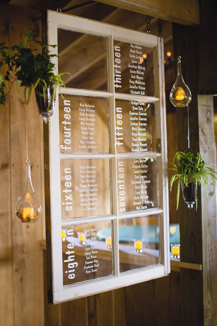 Rustic Window Seating Chart from Wedding at Snow Moon Ranch in Maple City, Michigan. See more escort cards http://www.theknot.com/weddings/photos/escort-cards