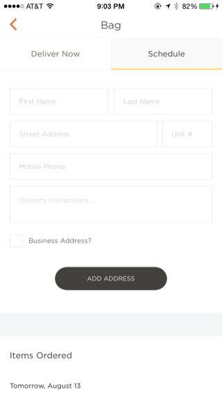 Munchery iPhone forms screenshot