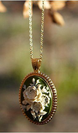 Green Floral Cameo Necklace  From shabbyapple.com