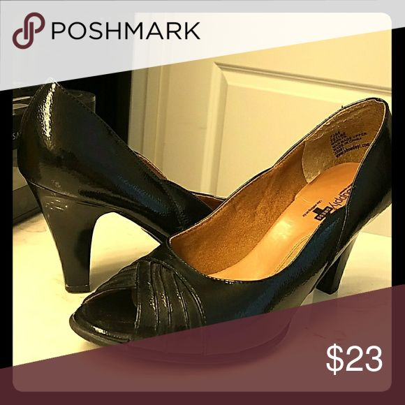 Black Peep Toe Heels Comfortable Air Supply peep toe shiny black heels, only gently worn! Air Supply Dress Shoes Heels