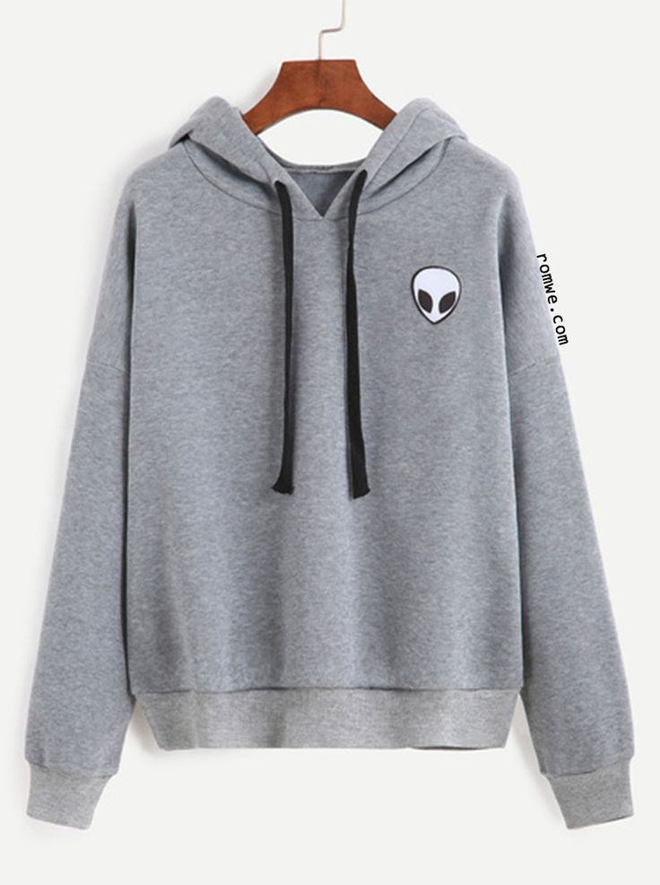 Grey Alien Print Hooded Sweatshirt