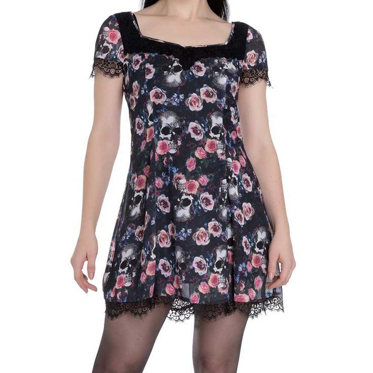 Morgan jurk met schedels en bloemen print zwart - Gothic - M - Hell Bunny
