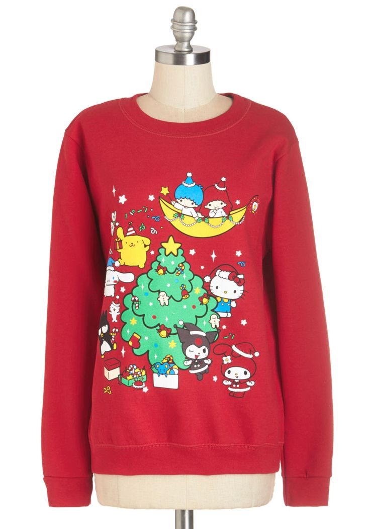Hello, Holiday Party! Sweatshirt. Welcome your favorite time of year in this cozy sweatshirt! #red #modcloth