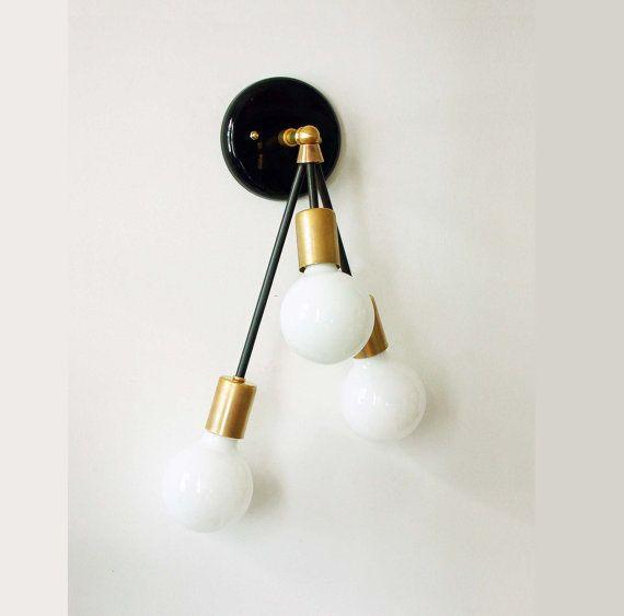 Triple pared aplique latón accesorio lámpara por DLdesignworks