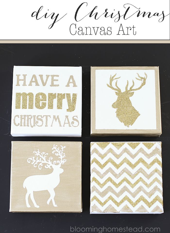 DIY Christmas Canvas Art with reindeer and chevron glitter. Have a Merry Christmas quote.