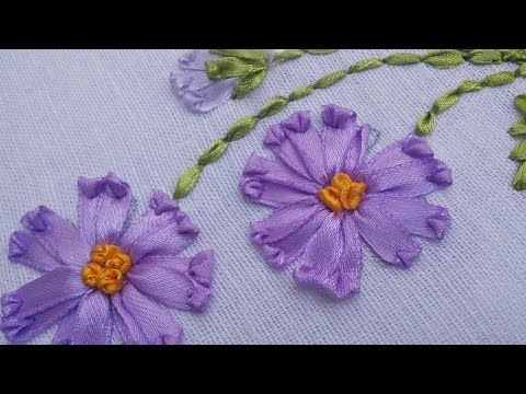 Bordado en cinta para principiantes 1/7 - Basic embroidery stitches ribbons - YouTube