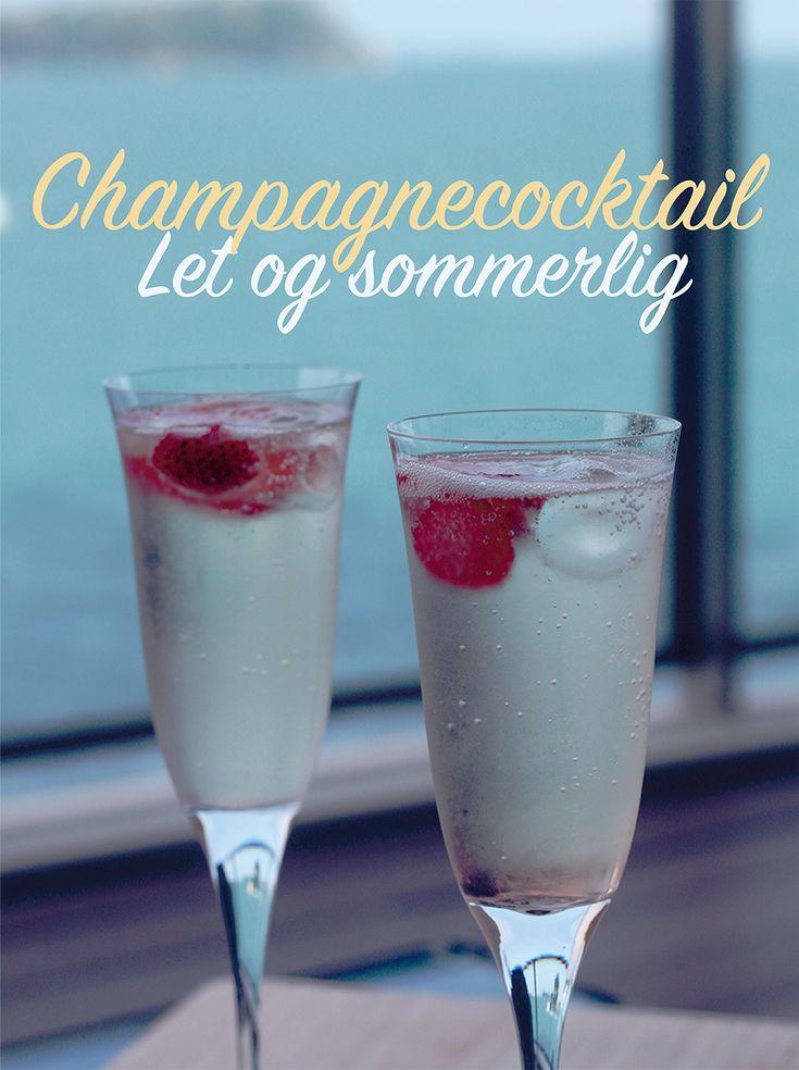 Champagnecocktail med hyldeblomst - tryk på billedet for at gå til gratis opskrift
