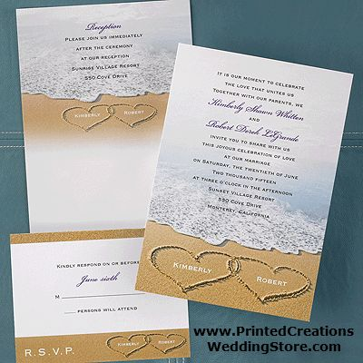 Beach Bliss wedding invitation - see more beach themed wedding invitations at www.PrintedCreationsWeddingStore.com.  #beachweddinginvitations
