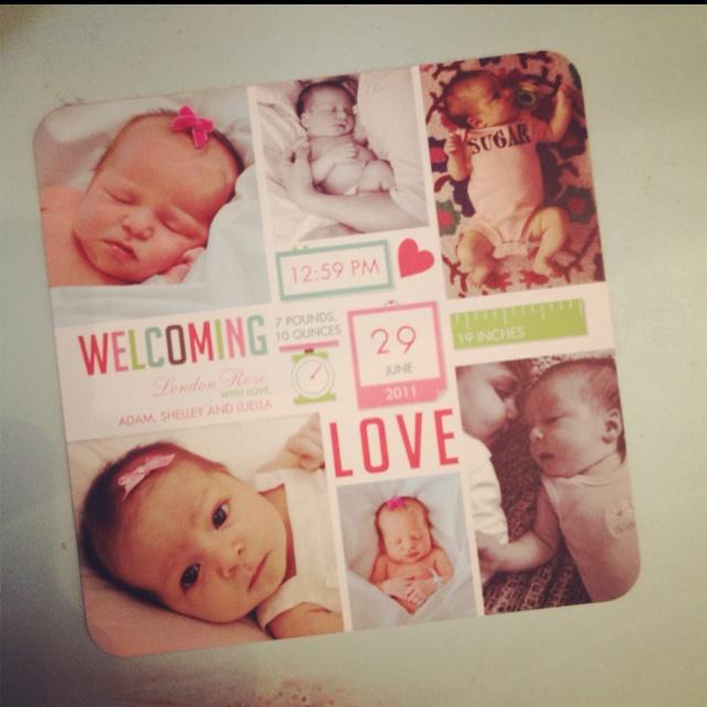 Birth announcement love.