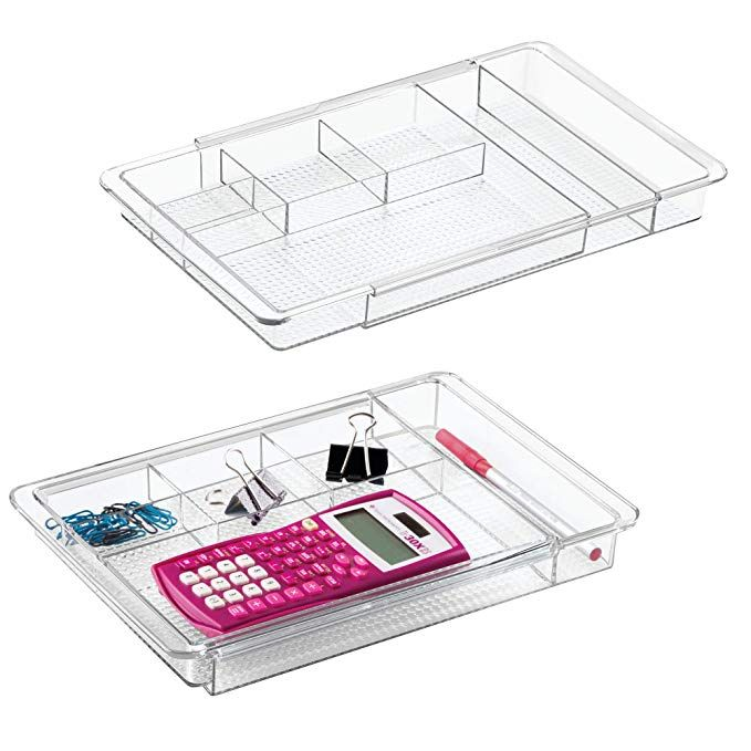 Mdesign Adjustable Expandable 7 Compartment Office Desk Drawer Organizer Tray For Office Supplies Organized Desk Drawers Desk With Drawers Drawer Organisers