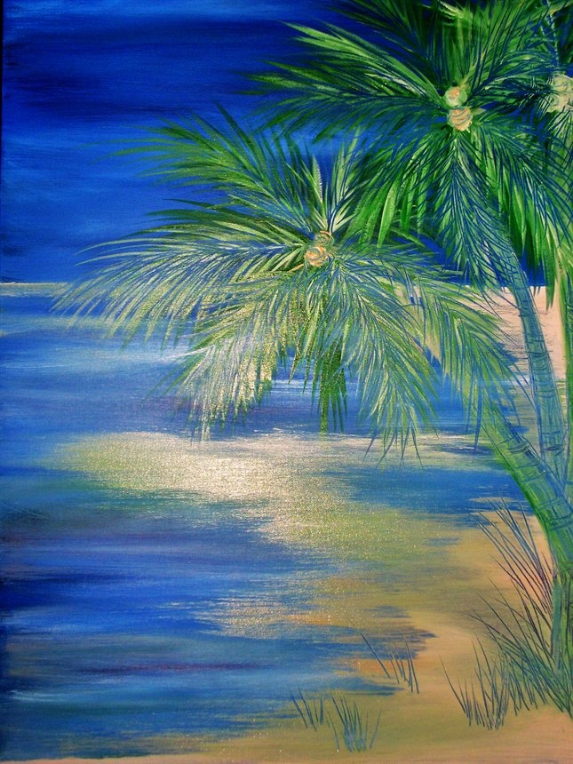 Palm Tree  FOR SALE  $300.00  Acrylic on Canvas  27 in x 18 in swoody@adam.com.au