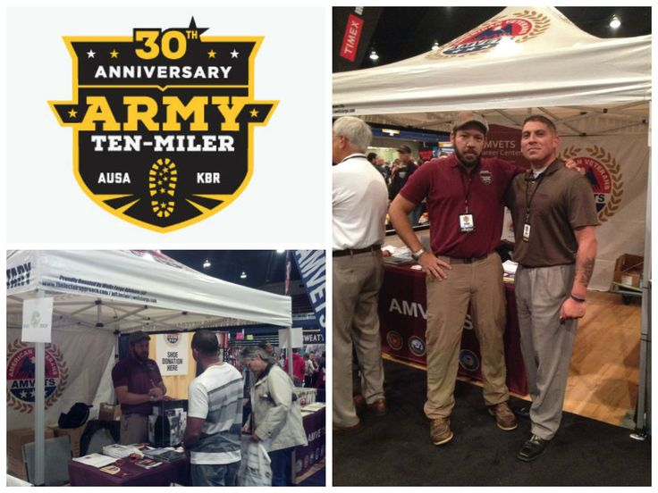 We had a blast at the Army Ten-Miler Expo representing AMVETS and the Career Centers! We are proud to report that AMVETS collected over 600 pairs of running shoes for the AMVETS Thrift Stores!! Thank you to everyone who donated in support of our veterans! #military #veterans #armytenmiler #expo #dcarmory https://www.armytenmiler.com/
