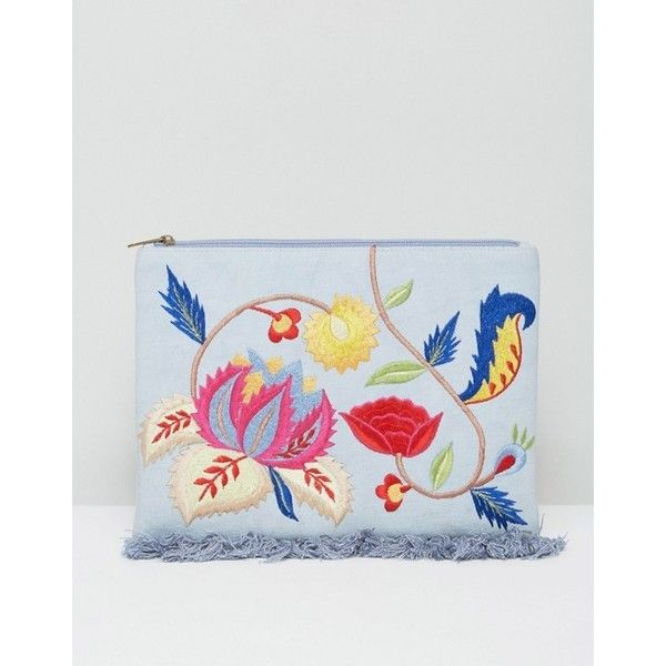 Glamorous Embroidered Denim Clutch Bag ($32) ❤ liked on Polyvore featuring bags, handbags, clutches, embroidery purse, denim purse, embroidery handbags, embroidered handbags and embroidered clutches