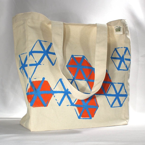 Recycled cotton tote bag screen printed geometric by LEFTright, $18.00: Geometric Pattern