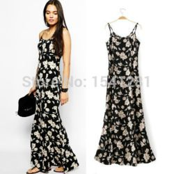 Women Dress Girls Printing Forals Casual Dress Spaghetti Strap