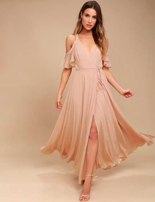 c9c0a0191851 15. Blush Pink Cold Shoulder Maxi Dress For A Beach Wedding