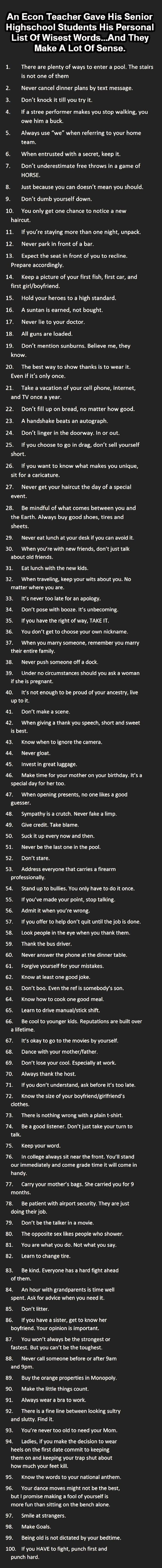 "Good advice! Most of these are really good.  I think ""learn how to jump a car"" needs to be on here too."