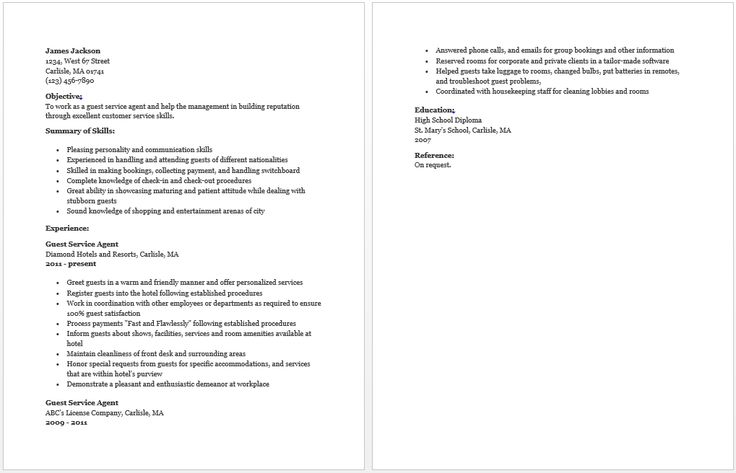 Guest Service Agent Resume resume sample Pinterest - guest services resume