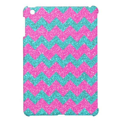 Pink Turquoise Girly ZigZag Glitter Photo Print iPad Mini Cases. I really want this in a iPad 4 generation.